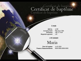 Certificat avec cristaux Swarovski®